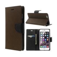 Pouzdro Mercury Goospery pro Apple iPhone 6 Plus / 6S Plus - stojánek a prostor pro platební karty - hnědo-černé
