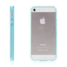 Ochranný plasto-gumový kryt s antiprachovou záslepkou pro Apple iPhone 5 / 5S / SE - průhledný s tyrkysovým rámečkem