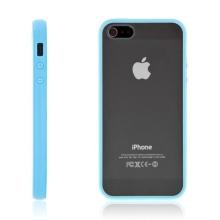 Ochranný plastový kryt pro Apple iPhone 5 / 5S / SE - průhledný s modrým gumovým rámečkem