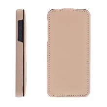 Flipové vyklápěcí pouzdro pro Apple iPhone 5 / 5S / SE s texturou kůže - béžové