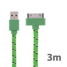 Synchronizační a nabíjecí kabel s 30pin konektorem pro Apple iPhone / iPad / iPod - tkanička - plochý zelený - 3m