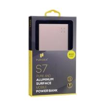 Externí baterie / power bank PURIDEA - 8000 mAh - 2x USB, celkem 3A - Rose Gold růžová