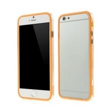 Plasto-gumový rámeček / bumper pro Apple iPhone 6 / 6S - oranžový s průhledným pruhem