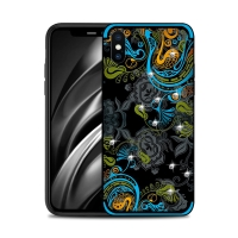 Kryt NXE pro Apple iPhone Xs Max - květinový motiv s kamínky - modrý