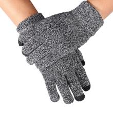 Rukavice pro ovládání dotykových zařízení - žíhané - bílo-černé