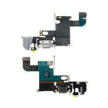 Napájecí a datový konektor s flex kabelem + audio konektor jack + GSM anténa + mikrofon pro Apple iPhone 6 - šedý - kvalita A+