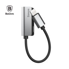 2v1 redukce BASEUS - Lightning - Lightning / 3,5mm - hliník - stříbrná