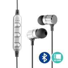 Sluchátka Bluetooth bezdrátová - špunty - ovládání + mikrofon - slot na Micro SD kartu - černá