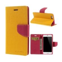 Pouzdro Mercury pro Apple iPhone 6 / 6S - stojánek a prostor pro platební karty - žluto-růžové