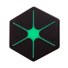 Bezdrátová nabíječka / nabíjecí podložka Qi - šestiúhelník - zelená hvězda / černá