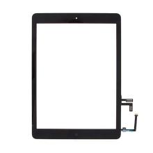Přední dotykové sklo (touch screen) s flex kabelem a Home Buttonem pro Apple iPad Air 1.gen. - černý rámeček - kvalita A+