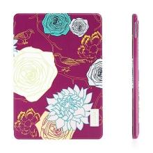 Pouzdro DEVIA pro Apple iPad Air 2 - stojánek a funkce chytrého uspání - květy - růžové