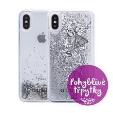 Kryt GUESS Liquid Glitter pro Apple iPhone X / Xs - plastový - stříbrné třpytky