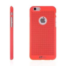 Plastový kryt LOOPEE pro Apple iPhone 6 / 6S s výřezem pro logo - děrovaný - lososový