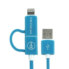2v1 synchronizační a nabíjecí kabel KALAIXING - MFi certifikovaný Lightning + Micro USB - modrý