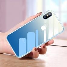Kryt CAFELE pro Apple iPhone Xs Max - sklo / silikon - modrý