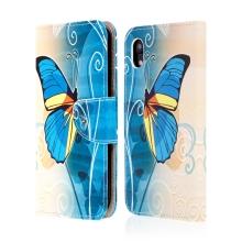 Pouzdro pro Apple iPhone Xr - stojánek + prostor pro platební karty - umělá kůže - motýl
