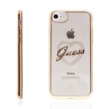 Kryt GUESS pro Apple iPhone 6 / 6S gumový - srdce - průhledný / zlatý