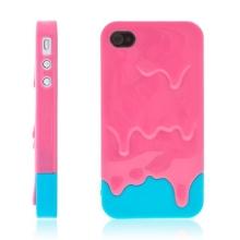 Plastový kryt pro Apple iPhone 4 / 4S - tající zmrzlina - růžovo-modrý