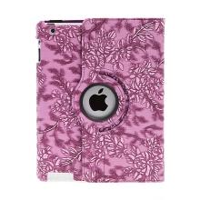 Pouzdro pro Apple iPad 2 / 3 / 4 - 360° otočný stojánek - květiny - fialové
