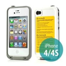 Voděodolné plastové pouzdro Redpepper pro Apple iPhone 4 / 4S - bílé s šedým rámečkem