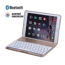Mobilní klávesnice bluetooth 3.0 + kryt pro Apple iPad Air 2 - barevně podsvícená - zlatá