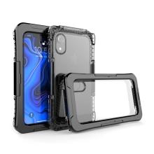 Pouzdro pro Apple iPhone Xr - voděodolné - plast / silikon - průhledné / černé