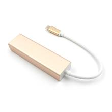 Adaptér / redukce USB-C na RJ45 1000Mbps / gigabit ethernet + 3x USB 3.0 - USB hub / rozbočovač - zlatý
