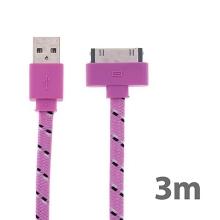 Synchronizační a nabíjecí kabel s 30pin konektorem pro Apple iPhone / iPad / iPod - tkanička - plochý světle růžový - 3m