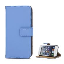 Pouzdro pro Apple iPhone 5 / 5S / SE - stojánek + prostor pro platební karty - kožené - světle modré