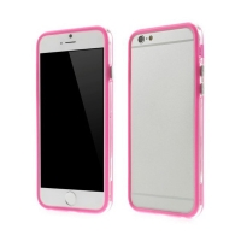 Plasto-gumový rámeček / bumper pro Apple iPhone 6 / 6S - růžový s průhledným pruhem