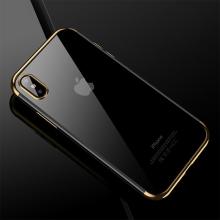 Kryt CAFELE pro Apple iPhone X - gumový / pokovené hrany - průhledný / zlatý