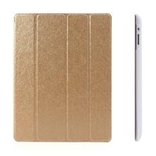 Pouzdro + Smart Cover pro Apple iPad 2. / 3. / 4.gen. - zlaté průhledné - elegantní textura