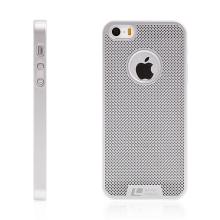 Kryt LOOPEE pro Apple iPhone 5 / 5S / SE plastový / výřez pro logo - stříbrný