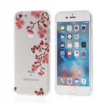 Kryt pro Apple iPhone 6 / 6S gumový - průhledný - motýli a květiny