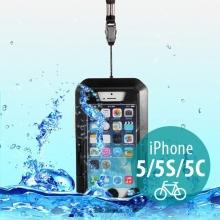 Voděodolné plasto-silikonové pouzdro s 360° otočným držákem na kolo pro Apple iPhone 5 / 5S / SE - černé