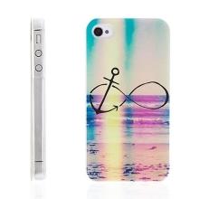 Plastový kryt pro Apple iPhone 4 / 4S - nekonečno & kotva - pláž - barevný