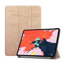 """Pouzdro / kryt pro Apple iPad Pro 12,9"""" (2018) - funkce chytrého uspání + stojánek - umělá kůže - Rose Gold"""