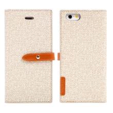 Pouzdro Mercury Milano Diary pro Apple iPhone 6 / 6S - látková textura - béžové