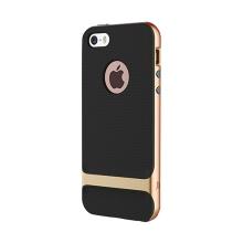 Kryt ROCK Royce pro Apple iPhone 5 / 5S / SE - plastový / gumový - černý / zlatý