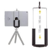 Univerzální nastavitelný držák na stativ / selfie tyč pro Apple iPad mini / iPhone - šířka 11,5 - 14,5cm - černý