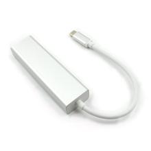 Adaptér / redukce USB-C na RJ45 1000Mbps / gigabit ethernet + 3x USB 3.0 - USB hub / rozbočovač - stříbrný
