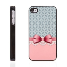 Plastový kryt s hliníkovým povrchem pro Apple iPhone 4 / 4S - růžová mašle