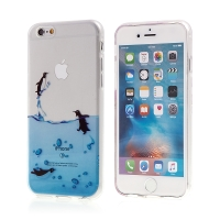 Kryt pro Apple iPhone 6 / 6S gumový - průhledný - tučňáci