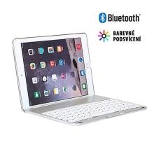 Klávesnice Bluetooth + kryt pro Apple iPad Air 2 / Pro 1. gen - barevné podsvícení - stříbrná