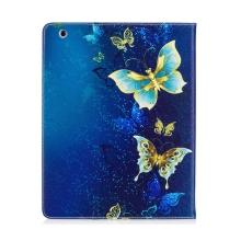 Pouzdro pro Apple iPad 2 / 3 / 4 - stojánek + prostor pro platební karty - motýli