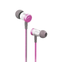 Sluchátka SWISSTEN pro Apple zařízení - špunty - ovládání + mikrofon - kov / guma - růžová