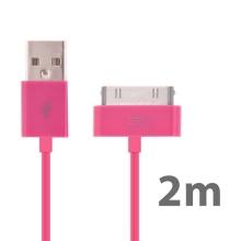 Synchronizační a nabíjecí USB kabel pro Apple iPhone / iPad / iPod – 2m růžový