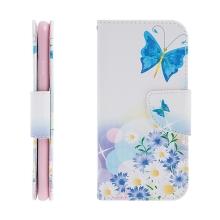 Pouzdro / kryt pro Apple iPhone 7 / 8 - prostor pro doklady / stojánek - motýl & květina