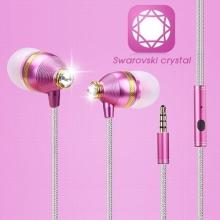 Sluchátka BENWIS + ovládání a mikrofon pro Apple a další zařízení - s kamínky Swarovski - růžová